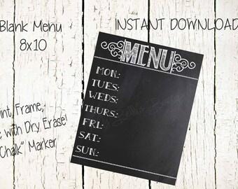 Weekly Menu Printable-8x10-Instant Download