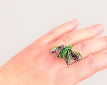 Butterfly ring, wire wrapped ring, green ring, adjustable, solid silver band ring, insect ring, modern hippie, Easter, birthday gift for her
