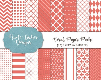 Coral Patterned Paper Pack -INSTANT DOWNLOAD