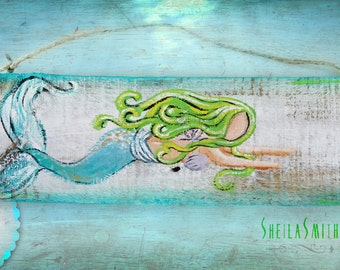 """Mermaid Art, Wall Decor, Recycled barn wood, hand painted """"Flopsy"""" the Mermaid by SheilaSmithDesigns©"""