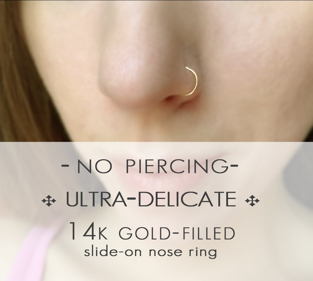No Piercing Yellow Gold Nose Ring Non Pierced 14k Gold