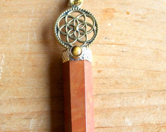 Red Jasper with Tigers Eye & Flower of Life Pendant