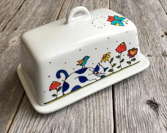 """Butter dish - Cat - Flowers - birds -  """"Life is beautiful"""" hand painted by artist Isabelle Malo"""