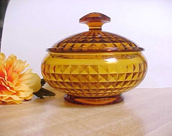 Vintage Fenton #53 Puff Box in Amber Diamond Optic, 1920's Glassware Covered Powder Jar For Vanity Area
