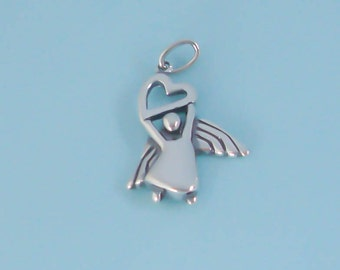 1 Sterling Silver Angel Charm, Heart Charm