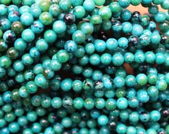 6mm Chrysocolla beads, full strand, natural stone beads, round, 60049