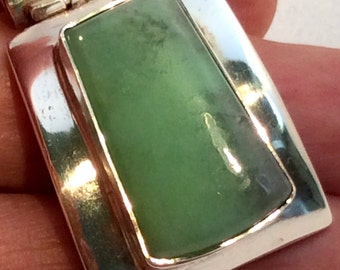 Green Chrysoprase Pendant. Sterling Silver. Square, Tailored, free US ship