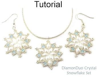 Beading Tutorials and Patterns - DiamonDuo Two Hole Beads - Beaded Snowflakes - Earrings & Necklace - DiamonDuo Crystal Snowflake Set #27244