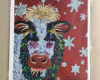 black and white christmas cow