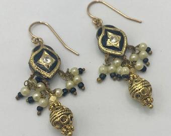 Black and Gold Meenakari Drop Handmade Earrings
