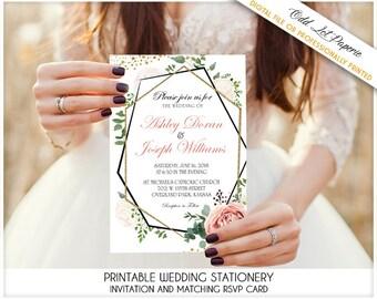 Boho Floral Geometric Geometry Wedding Invitation Set Blush Pink And Gold Greenery Invite Botanical Eucalyptus Wedding Invitation Printable
