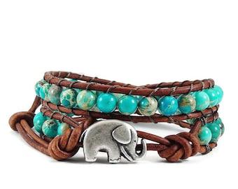 SALE Leather Wrap Bracelet, Imperial Jasper Gemstones, Elephant Beaded Wrap Bracelet, Boho Leather Wrap