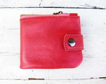 Women red leather wallet Organizer wallet purse Credit card case Soft leather purse wallet Coin pouch zipper Credit card wallet Gift girl