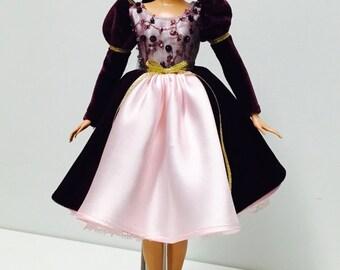 Handgemachte Barbie Doll Clothes - Burgunder Prinzessin Kleid, knielang