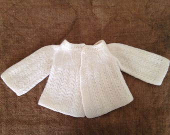 Wool vest white 0-1 month. Vintage 1950's