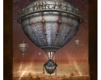 Steampunk Vintage Ad Series - Lead Balloon - Art Print by Brian Giberson