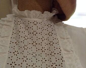 Handmade Vintage Silk and Cotton Blouse - White