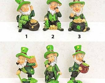 Miniature Leprechaun, Pot of Gold, Basket of Lucky Shamrocks, St. Patrick's Day Leprechaun, Fairy Garden Miniature Figure