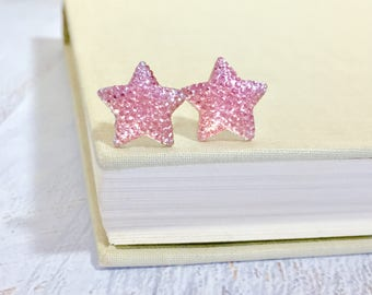Large Pink Star Stud Earrings in Bumpy Shimmering Sparkling Glittery Faux Druzy, Surgical Steel