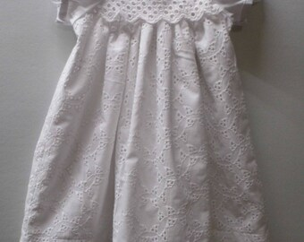 Becka, lined white cotton eyelet lace infant Christening gown, Baptism gown, Blessing gown, Dedication gown, baby dress