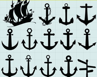 Anchor Silhouettes Clipart, Anchor Clipart, Nautical clipart, Ships Silhouettes, Nautical Silhouettes, Anchor SVG, SVG Files