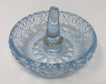 Fenton 1980's Light Blue Glass Ring Dish