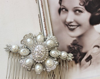 Silver Art Deco Hair Comb ,  Vintage Style Pearl Hair Comb, Art Deco headpiece, Bridal Headpiece, Wedding Hair Comb