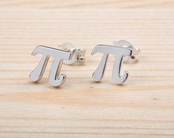 Pi Earrings, Pi Symbol, Math Jewelry, 925 Sterling Silver, Solid Gold Pi Earrings