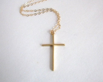 Simple, Skinny Gold Cross Necklace - 14K Gold Filled Chain, Christian necklace, Christian jewelry, religious jewelry