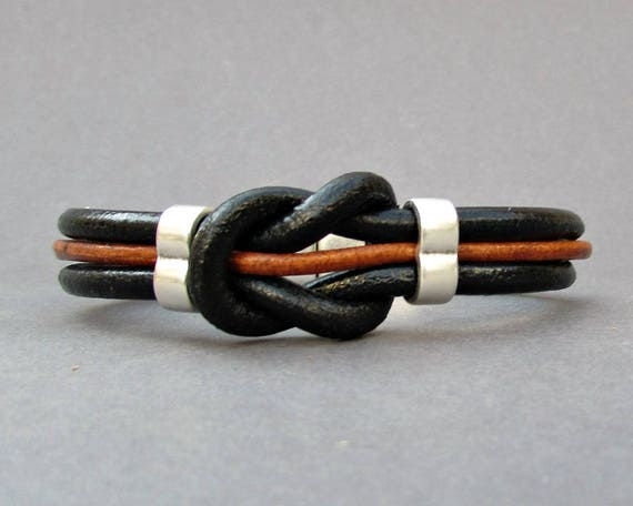 Nautical Knot Mens Leather Bracelet, Black Brown Natural Leather Mens Bracelet, Silver Plated Customized On Your Wrist