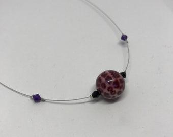 SALE - Beautiful Purple Animal Print Style bead necklace