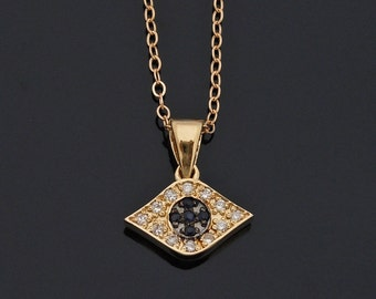 Diamond  Evil Eye Necklace - 14kt Yellow Gold and Sapphires