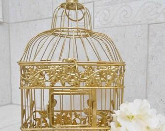 Small Gold Foil Wedding Birdcage Card Holder | Gold Birdcage | Gold Wedding Decor | DIY Wedding Birdcage