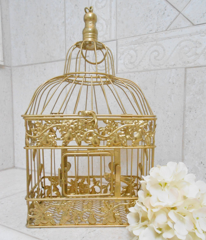 Small Gold Foil Wedding Birdcage Card Holder Gold Birdcage