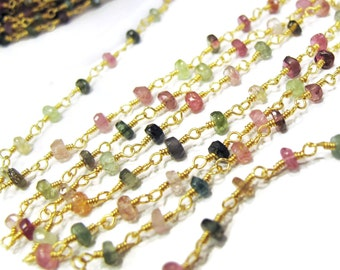 Gemstone Beaded Chain, Multi Tourmaline Rosary Chain, 5 Feet, Natural Gemstones on Gold Plated Chain for Making Jewelry