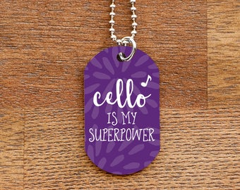 Cello is my Superpower - Purple Dog Tag Necklace for Musicians