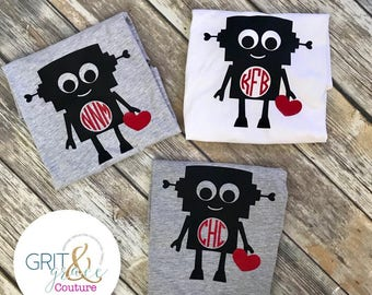 Free Shipping! Child's Valentine Robot Tee