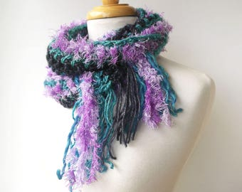Hand Crochet scarf with fringe - Fluffy Long Knitted Scarf - Fun Art Scarf - Blue and Purple