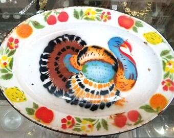 Vintage émail peint Turquie plateau, plateau de grandes grâces, décor de ferme