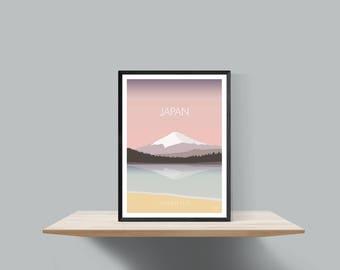 Japan , Mount Fuji minimalist travel poster