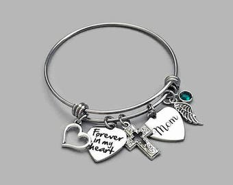 Forever In My Heart Bracelet, Mom Memorial Bracelet, Mother Memorial Bracelet, Loss Of Mother, Remembrance Charm Bracelet, Stainless Steel