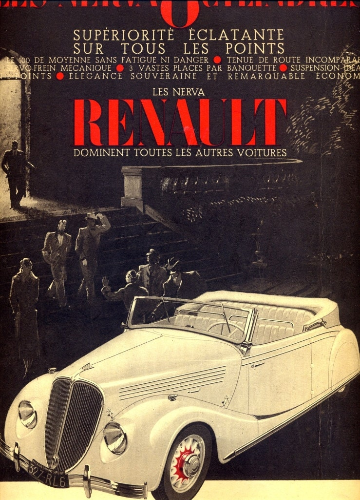 Renault vintage advertising retro poster 1936 French magazine