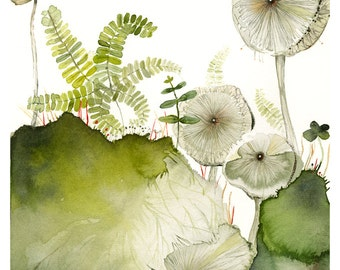 Maidenhair and Mushrooms print of original watercolor