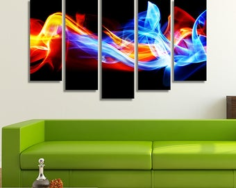 LARGE XL Abstract Art Canvas Print Ice and Fire Canvas Blue and Red Air Canvas Wall Art Print Home Decoration - Framed and Stretched