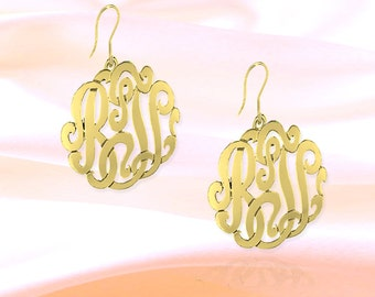 Monogram Earrings - .75 inch 24K Gold Plated Sterling Silver Handcrafted - Personalized Earring - Initial   Earrings - Made in USA