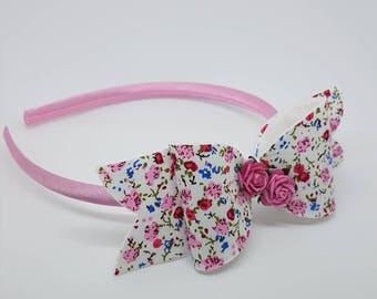 Pink hairband, flower girl hairband, wedding hair accessory, bridesmaid hairband, floral hair bow, little girl hair bows, toddler hairband