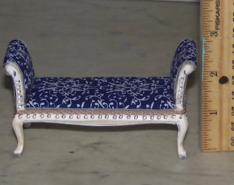 1:12th Dollhouse Settee Bench.  Upholstered in blue and white cotton.