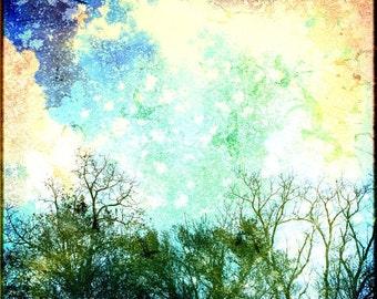 Celestial Art Large Photo Stars Galaxy Sky Aqua Blue Nature Photography - 20x20 inch Fine Art Photograph - When the Sky Began to Scream