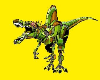 Spinosaurus Robosaur art print 5x7
