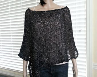 Knitted Women Black Melange Cotton Poncho. 100% Mako Cotton. Pure Cotton shawl. Summer Poncho. Loose knit Boho Poncho. Asymmetric Poncho